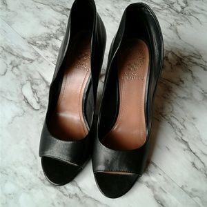 Vince Camuto Karolynn Black Leather Peeptoe Heels